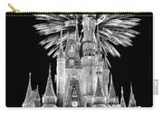 Castle With Fireworks In Black And White Walt Disney World Carry-all Pouch