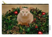 Cat And Christmas Wreath Carry-all Pouch