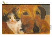 Cat And Dog Original Oil Painting  Carry-all Pouch