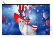 Cat In Patriotic Hat Carry-all Pouch by Carol Cavalaris