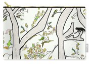 Cat In Tree White Background Carry-all Pouch