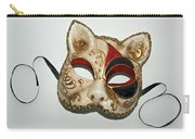 Cat Masquerade Mask On White Carry-all Pouch
