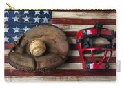 Catchers Glove On American Flag Carry-all Pouch