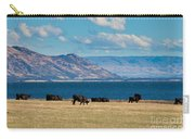 Cattle Grazing At Hawea Lake In Southern Alps In New Zealand Carry-all Pouch