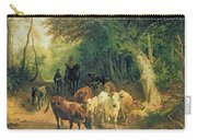 Cattle Watering In A Wooded Landscape Carry-all Pouch by Friedrich Johann Voltz