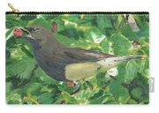 Cedar Waxwing Eating Mulberry Carry-all Pouch