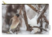 Cedar Waxwing In Winter Carry-all Pouch