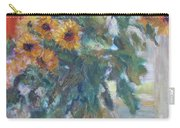 Sale - Sunflowers In Window Light - Original Impressionist - Large Oil Painting Carry-all Pouch