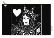 Celtic Queen Of Hearts Part I In Black And White Carry-all Pouch