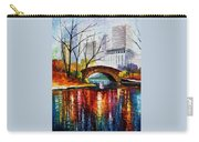 Central Park - Palette Knife Oil Painting On Canvas By Leonid Afremov Carry-all Pouch