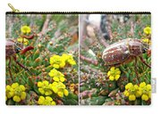 Chafer Beetle On Medusa Succulent In 3d Stereo Carry-all Pouch