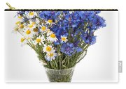 White Camomile And Blue Cornflower In Glass Vase  Carry-all Pouch