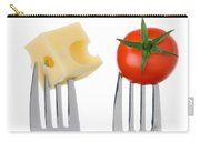 Cheese And Tomato On Forks Against White Carry-all Pouch