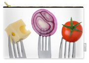 Cheese Onion And Tomato On Forks Against White Carry-all Pouch