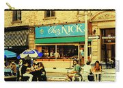 Chez Nick On Greene Avenue Montreal In Summer Cafe Art Westmount Terrace Bistros And Umbrellas Carry-all Pouch