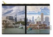 Chicago Buckingham Fountain 2 Panel Looking West And North Black Carry-all Pouch
