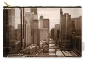 Chicago City View Afternoon B And W Carry-all Pouch