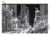 Chicago Michigan Avenue Light Streak Black And White Carry-all Pouch