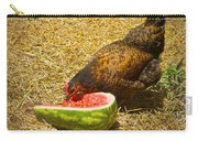 Chicken And Her Watermelon Carry-all Pouch by Sandi OReilly