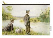 Children Fishing By A Stream Carry-all Pouch