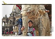 Children Love The Elephants In Patan Durbar Square In Lalitpur-nepal Carry-all Pouch