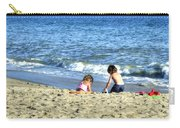 Children Playing On Beach Carry-all Pouch