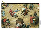 Childrens Games Kinderspiele Detail Of Bottom Section Showing Various Games, 1560 Oil On Panel Carry-all Pouch