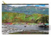 Chinese Landscape Abstract Graphic River Snow Peak Mountain Picnic Spot Skiing Raft Boat Carry-all Pouch