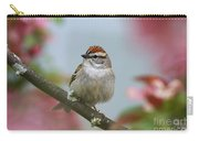 Chipping Sparrow In Blossoms Carry-all Pouch by Deborah Benoit