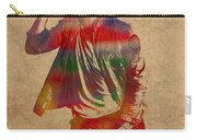 Chris Martin Coldplay Watercolor Portrait On Worn Distressed Canvas Carry-all Pouch
