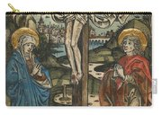 Christ On The Cross With Mary And Saint John Carry-all Pouch by German School