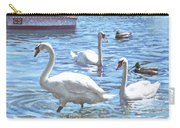 Christchurch Harbour Swans And Boats Carry-all Pouch by Martin Davey