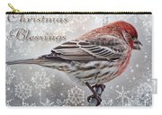 Christmas Blessings Finch Greeting Card Carry-all Pouch