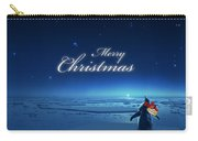 Christmas Card - Penguin Blue Carry-all Pouch