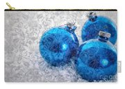 Christmas Card With Vintage Blue Ornaments Carry-all Pouch
