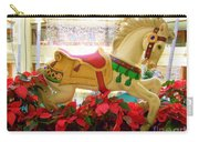 Christmas Carousel Horse With Poinsettias Carry-all Pouch