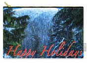 Christmas Holidays Scenic Snow Covered Mountains Looking Through The Trees  Carry-all Pouch