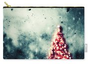 Christmas Tree Glowing On Winter Vintage Background Carry-all Pouch