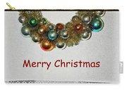 Christmas Wreath And Vintage Bulbs Carry-all Pouch