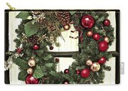 Christmas Wreath On Black Door Carry-all Pouch