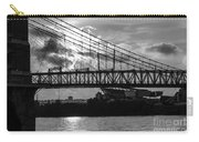 Cincinnati Suspension Bridge Black And White Carry-all Pouch by Mary Carol Story