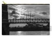Cincinnati Suspension Bridge Black And White Carry-all Pouch