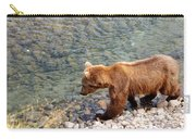 Cinnamon-colored Grizzly Bear By Moraine River In Katmai Np-ak  Carry-all Pouch