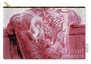 Circa 1900 Samurai Tattoo In Red Carry-all Pouch