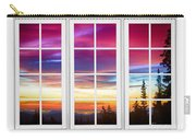 City Lights Sunrise View Through White Window Frame Carry-all Pouch