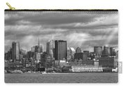 City - Skyline - Hoboken Nj - The Ever Changing Skyline - Bw Carry-all Pouch by Mike Savad