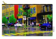 City Street Relections In The Rain Quebec Art Colors And Seasons Montreal Scenes Carole Spandau Carry-all Pouch