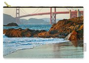 Classic - World Famous Golden Gate Bridge With A Scenic Beach And Birds. Carry-all Pouch