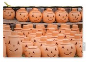 Clay Pumpkins Standing Happy Near The Wood Fence Carry-all Pouch