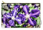 Clematis On A Stone Wall Carry-all Pouch